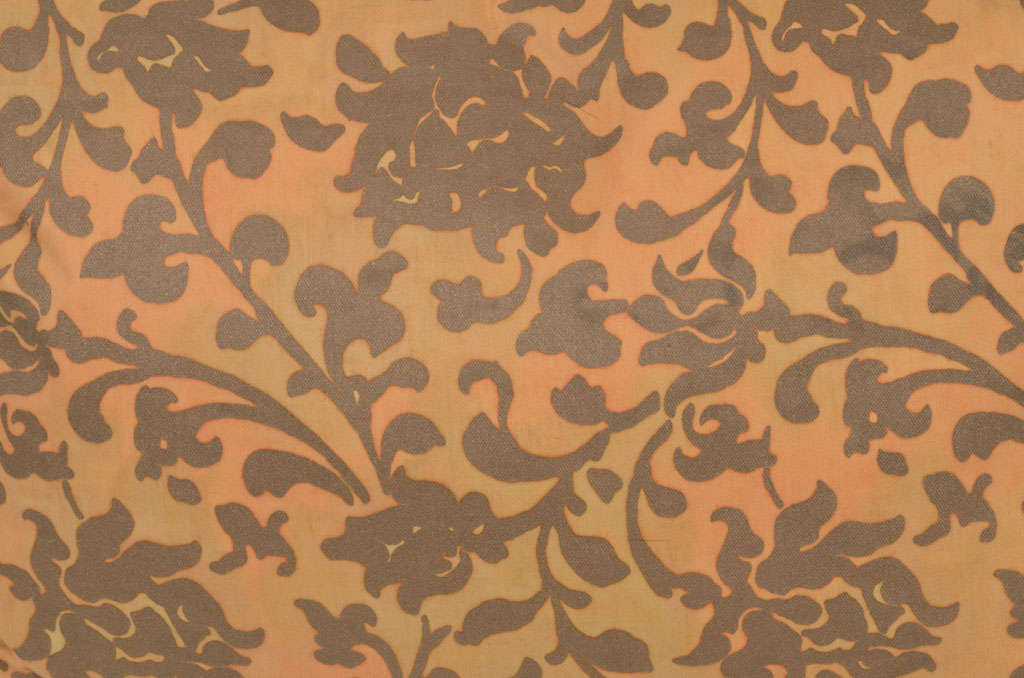 Pair of Persimmon and Bronze Venetian Fabric Down Pillows 4
