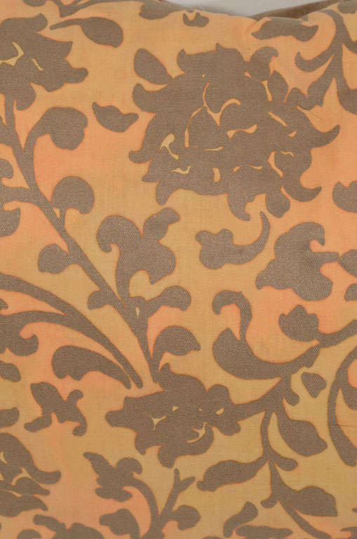 Pair of Persimmon and Bronze Venetian Fabric Down Pillows 5