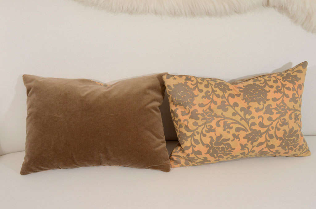Pair of Persimmon and Bronze Venetian Fabric Down Pillows 6