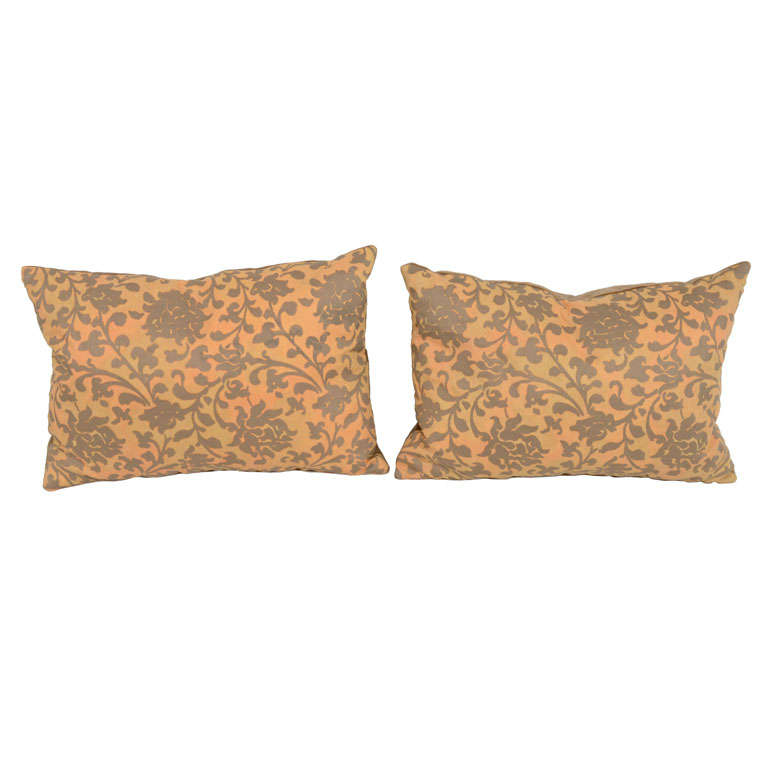 Pair of Persimmon and Bronze Venetian Fabric Down Pillows 1