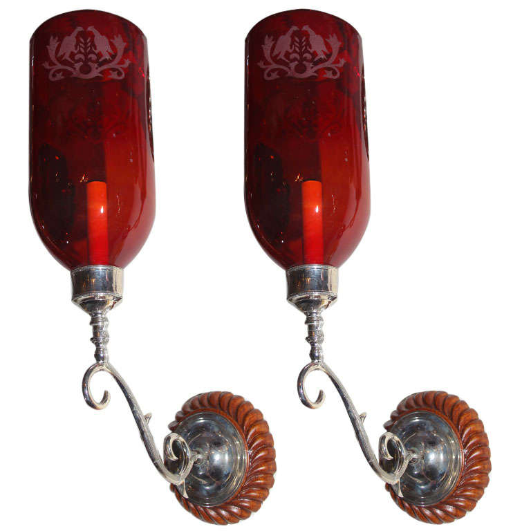Red Glass Wall Sconces : Antique Red Glass Globes on Sconces with Wood Backplates at 1stdibs