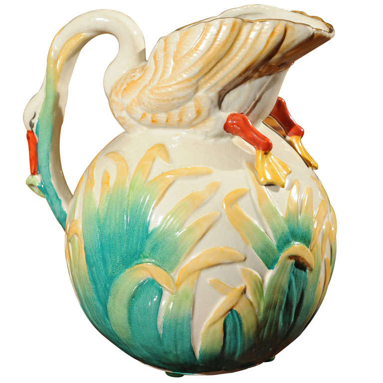 Fanciful English Majolica Style Swan Motif Pitcher At 1stdibs