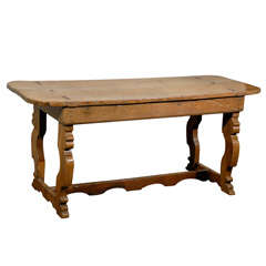 Italian 18th Century Trestle Farm Table with Lyre Shaped Legs