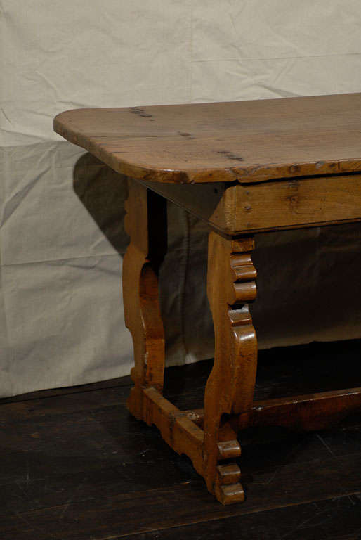 Country Italian 18th Century Trestle Farm Table with Lyre Shaped Legs For Sale