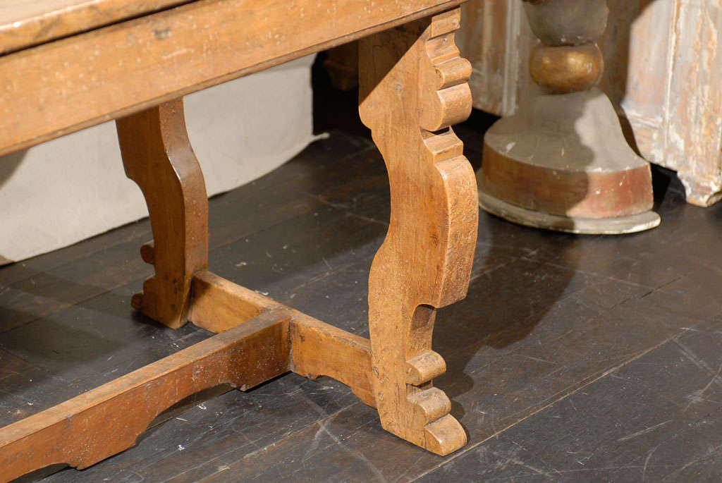 18th Century and Earlier Italian 18th Century Trestle Farm Table with Lyre Shaped Legs For Sale