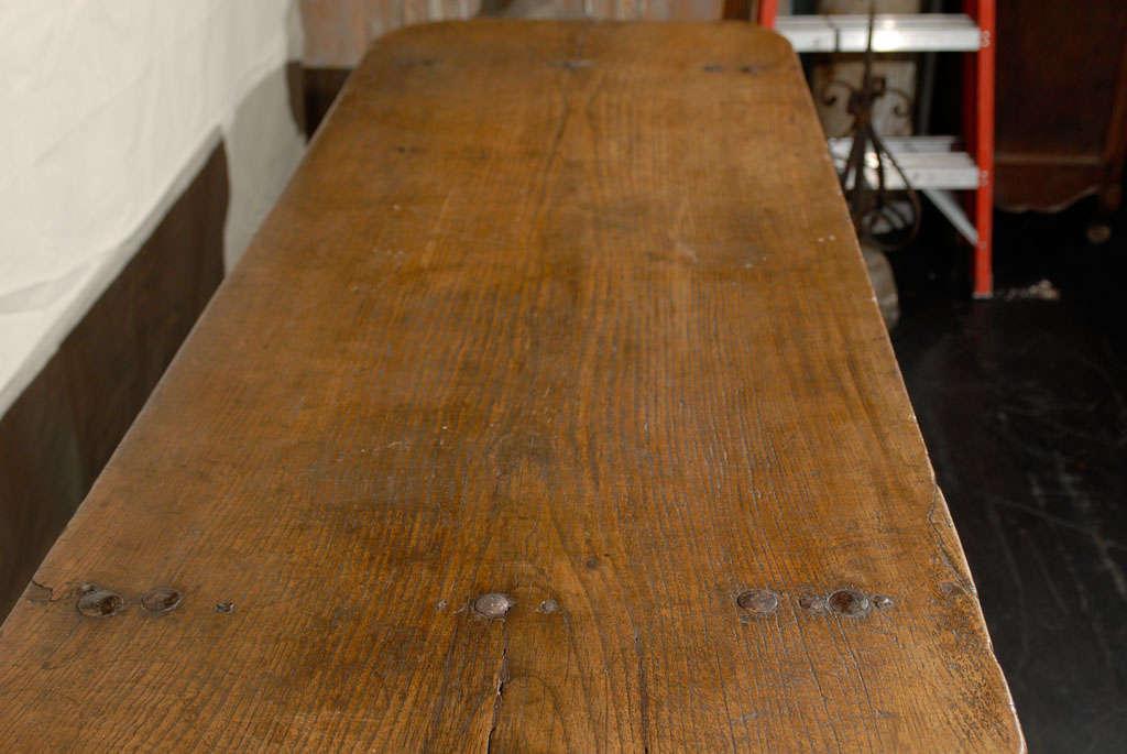 Chestnut Italian 18th Century Trestle Farm Table with Lyre Shaped Legs For Sale