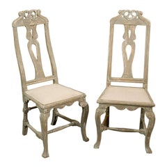 Pair of Swedish 18th Century Period Baroque Painted Wood Side Chairs