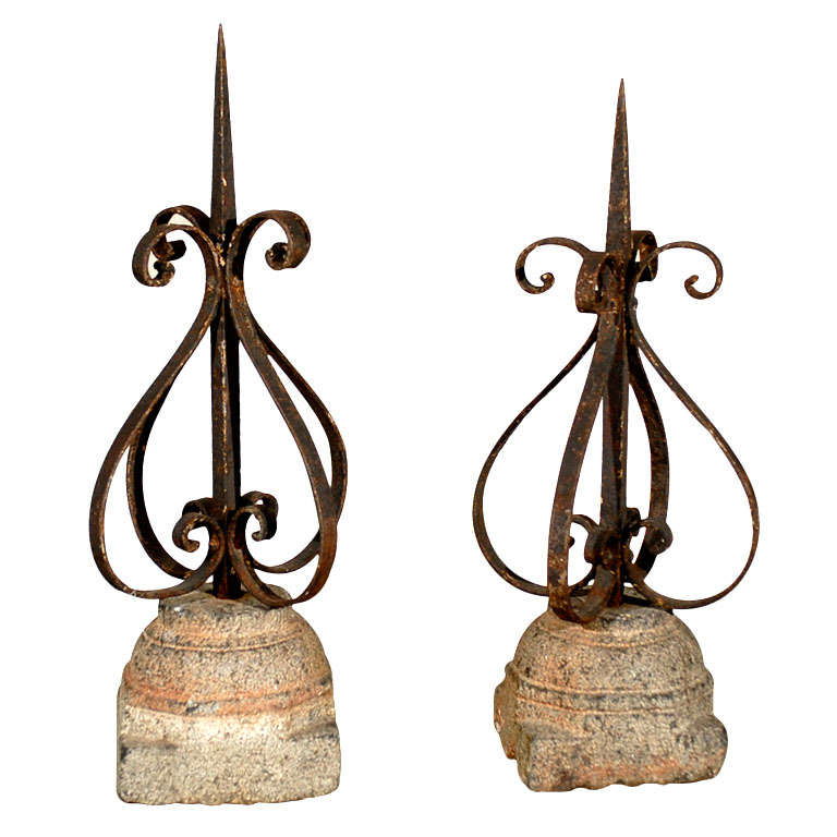 Pair of 19th Century French Finials Mounted on Granite Bases