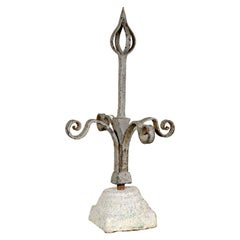 French 19th Century Large Size Forged Iron Finial in Granite Base