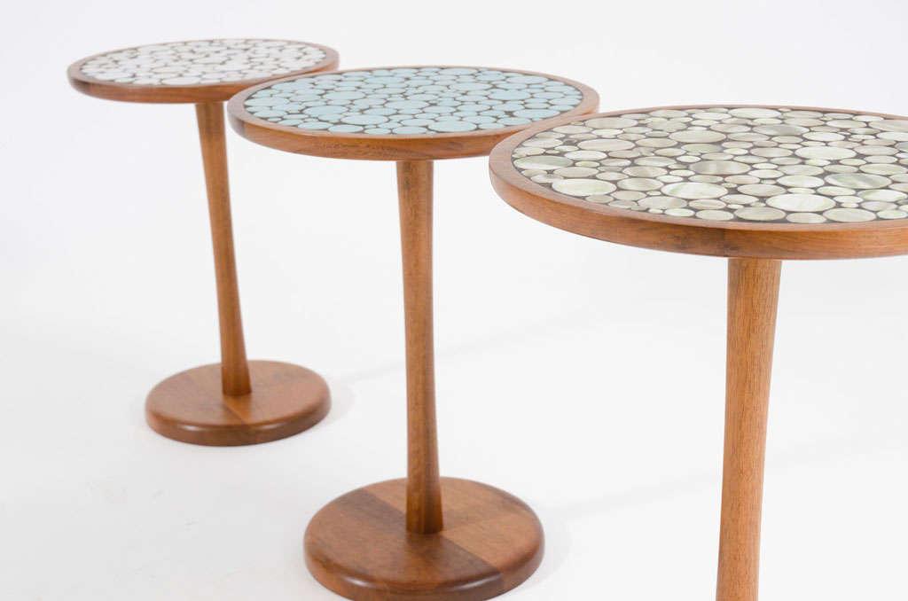 Set of 3 graduated tile top pedestal tables by gordon martz at 1stdibs - Ceramic pedestal table base ...