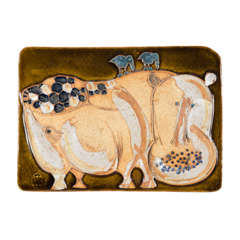 American Studio Ceramic Hippo Wall Plaque by Hal Fromhold
