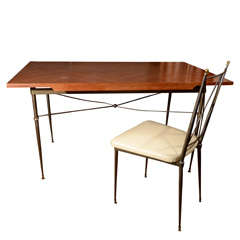 French Marquetry Desk and Chair Set After Leleu