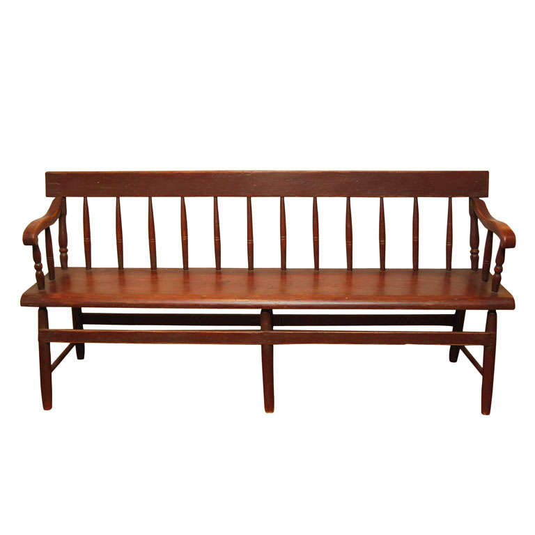 Spindle Back Red Canadian Bench At 1stdibs
