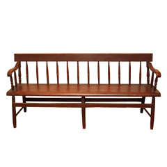 Spindle Back Red Canadian Bench