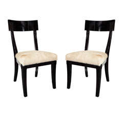 Pair of Klismos Side Chairs with High Backs and Pony Seats