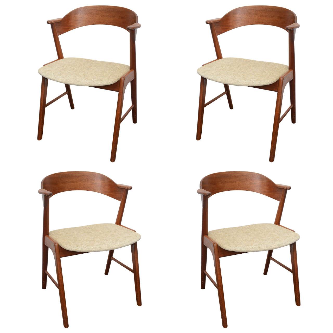 Danish teak dining chairs designed by kai kristiansen at 1stdibs - Kai kristiansen chair ...
