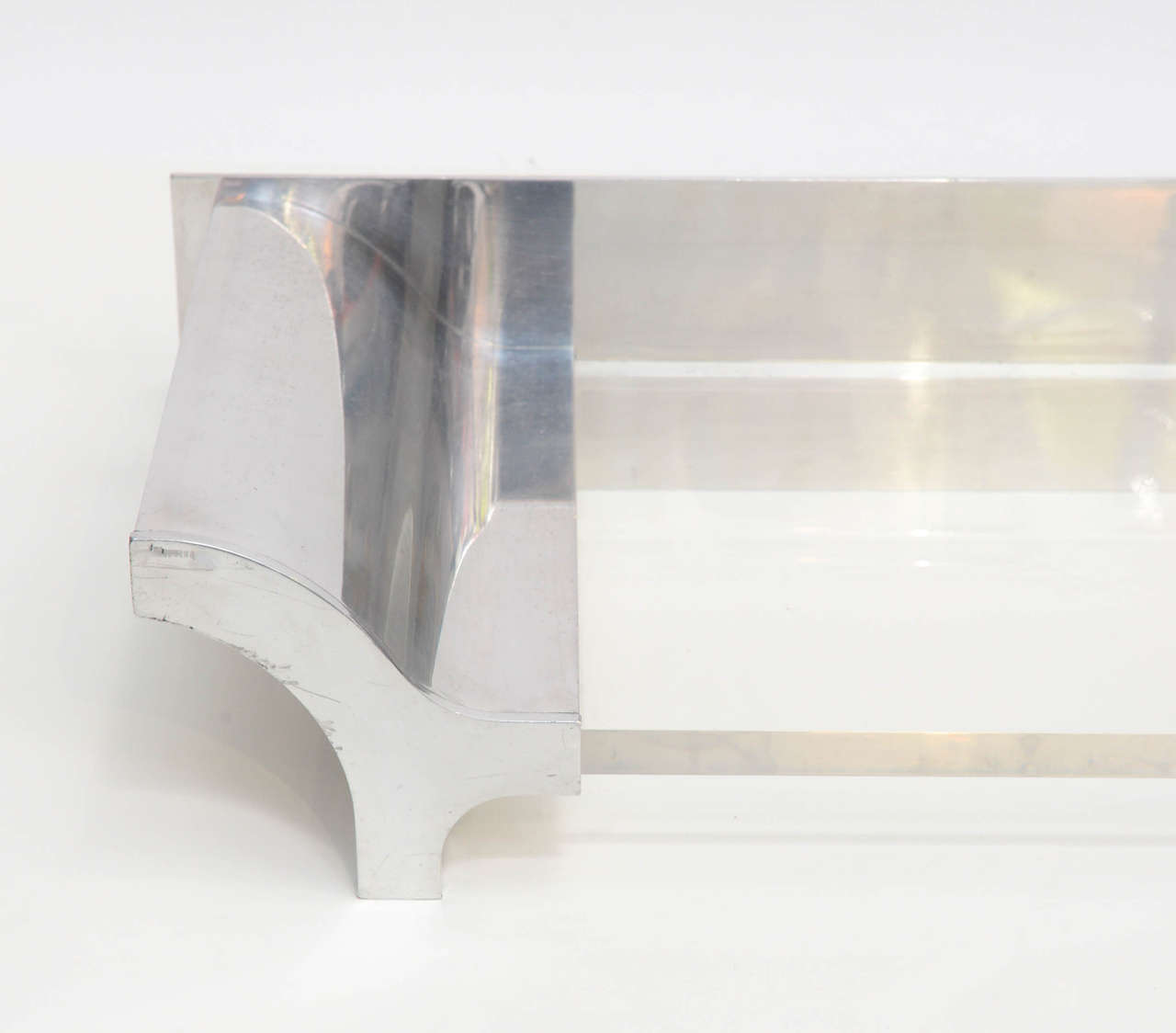 American Aluminium and Lucite Wall-Mounted Console, Signed by Karl Springer, 1970s For Sale