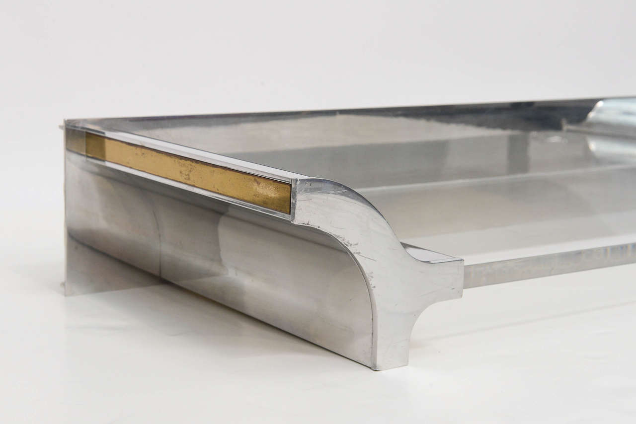 Aluminium and Lucite Wall-Mounted Console, Signed by Karl Springer, 1970s In Excellent Condition For Sale In Miami, FL