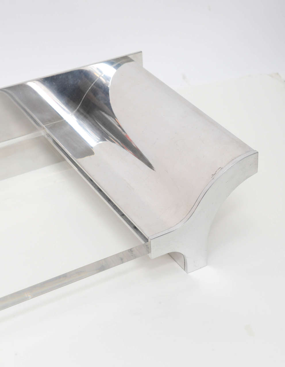 Late 20th Century Aluminium and Lucite Wall-Mounted Console, Signed by Karl Springer, 1970s For Sale