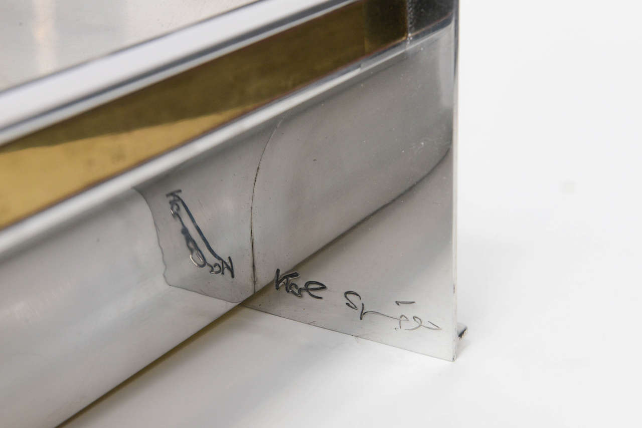 Aluminium and Lucite Wall-Mounted Console, Signed by Karl Springer, 1970s For Sale 1