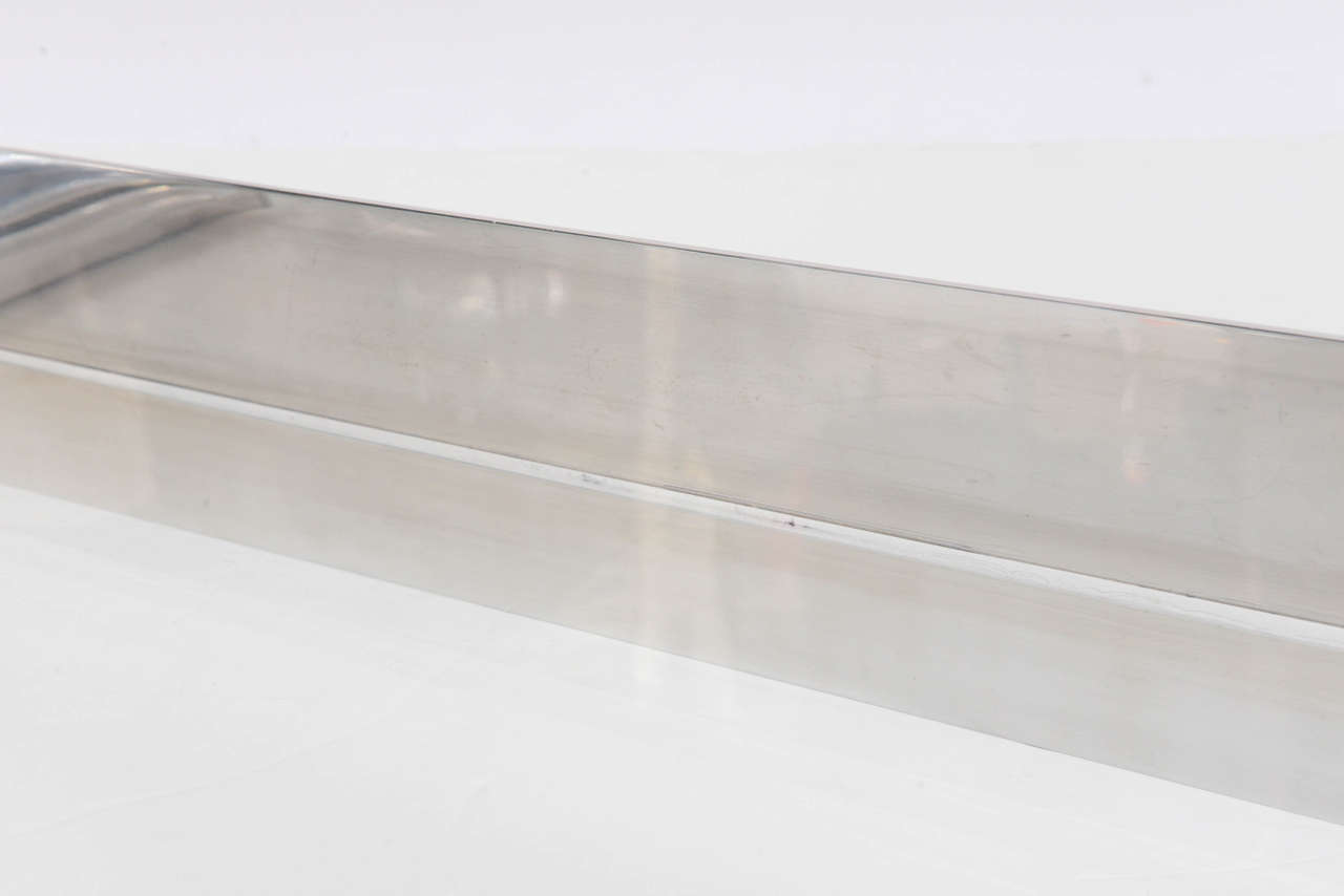 Aluminium and Lucite Wall-Mounted Console, Signed by Karl Springer, 1970s For Sale 3