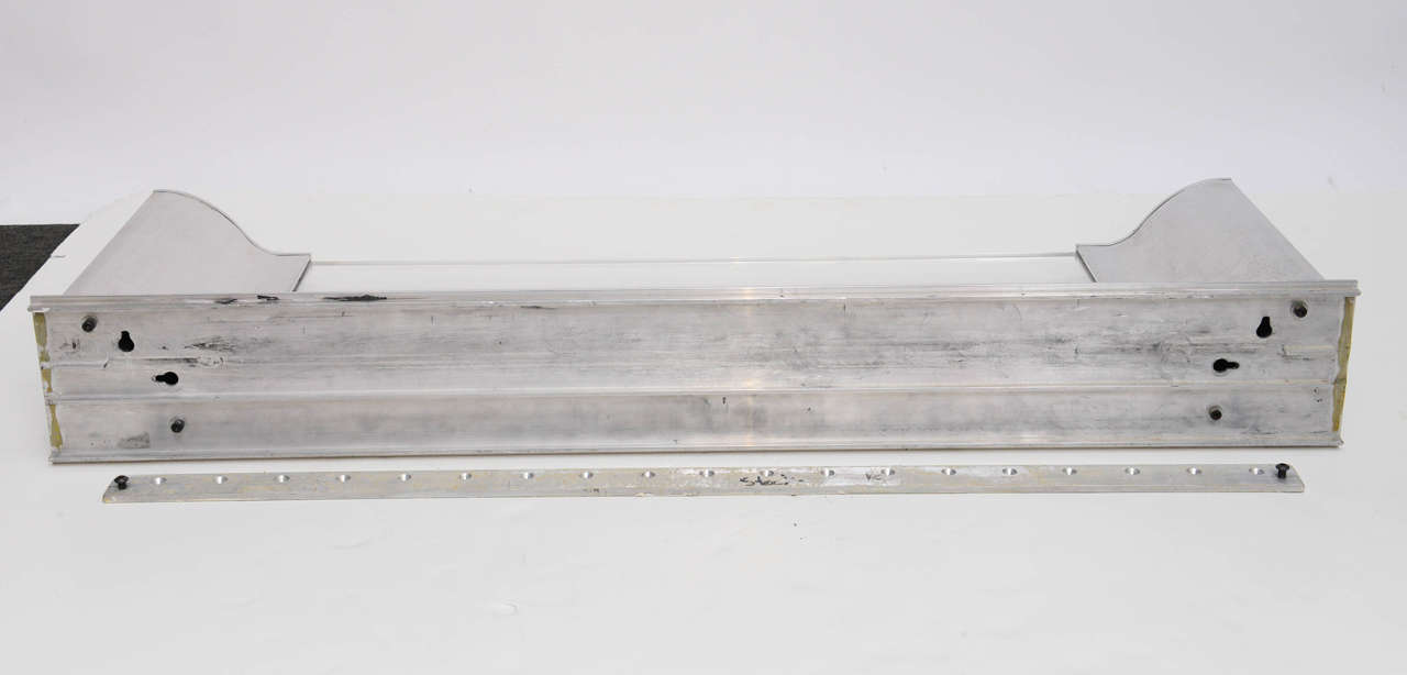 Aluminium and Lucite Wall-Mounted Console, Signed by Karl Springer, 1970s For Sale 4