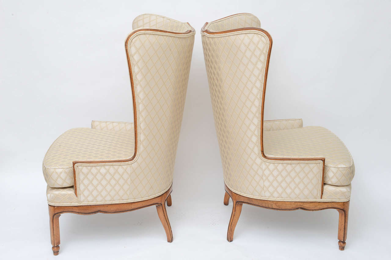 Walnut Grosfeld Style High Back Wing Tip Club Chairs For Sale