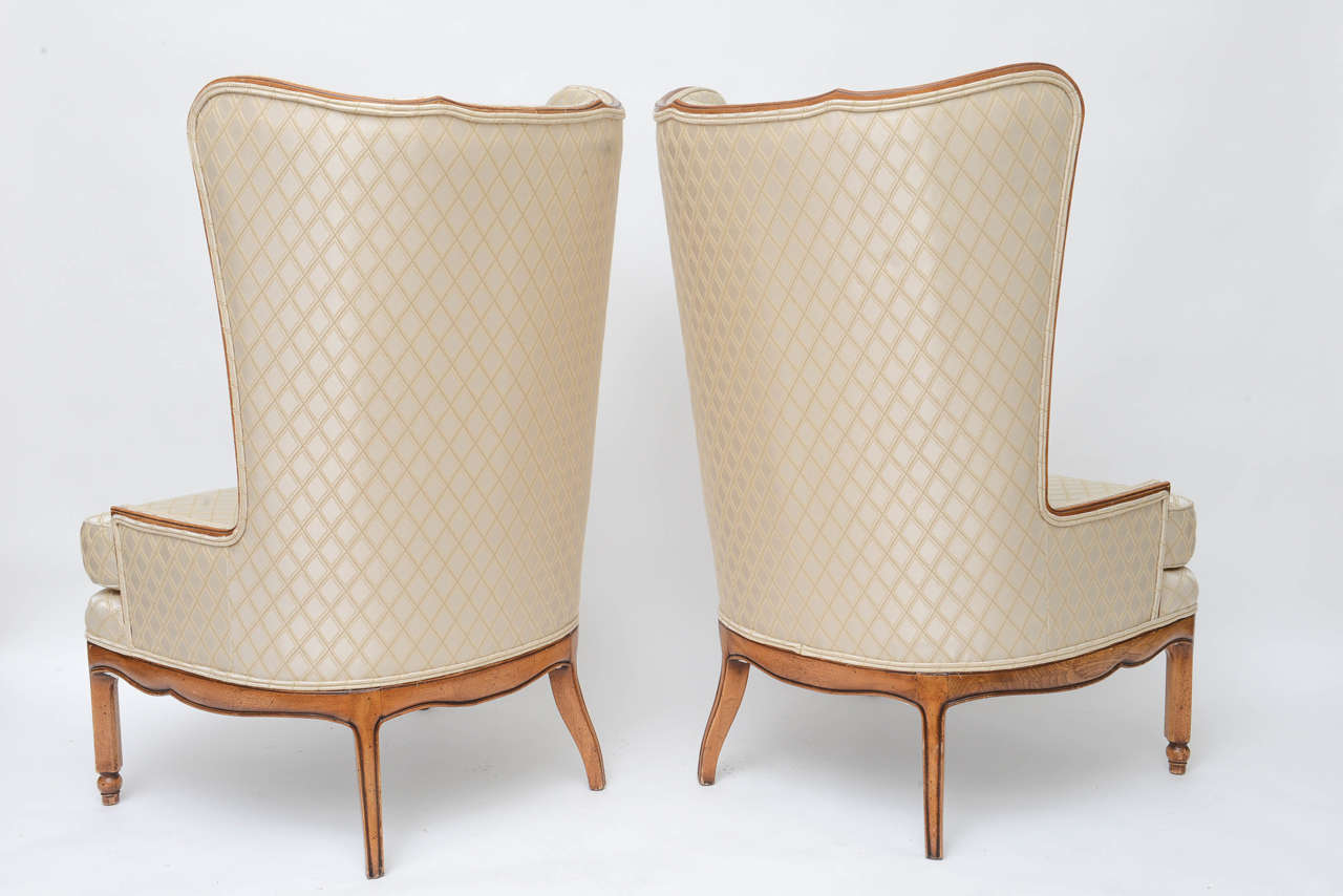 Grosfeld Style High Back Wing Tip Club Chairs For Sale 1