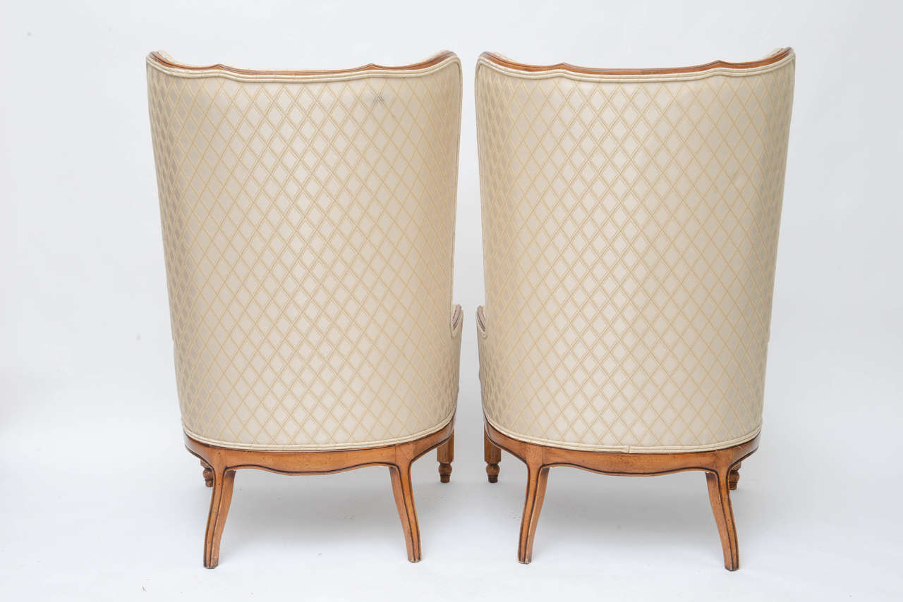 Grosfeld Style High Back Wing Tip Club Chairs For Sale 2