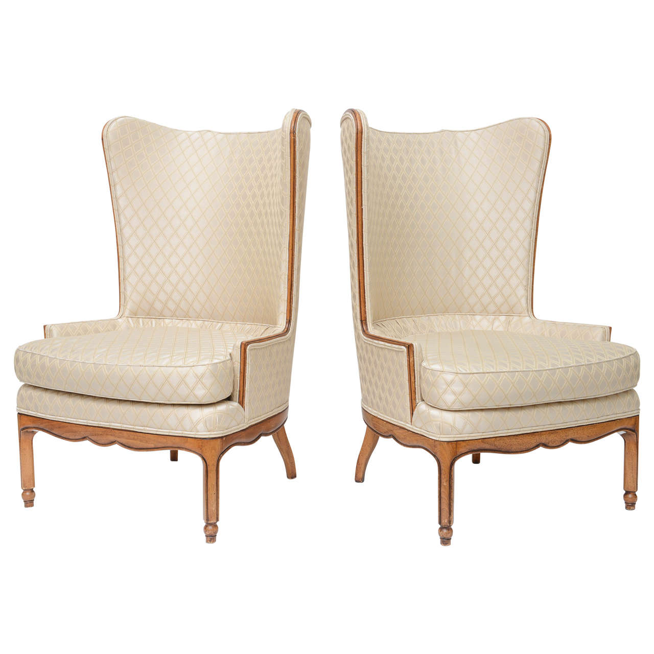 Grosfeld Style High Back Wing Tip Club Chairs For Sale