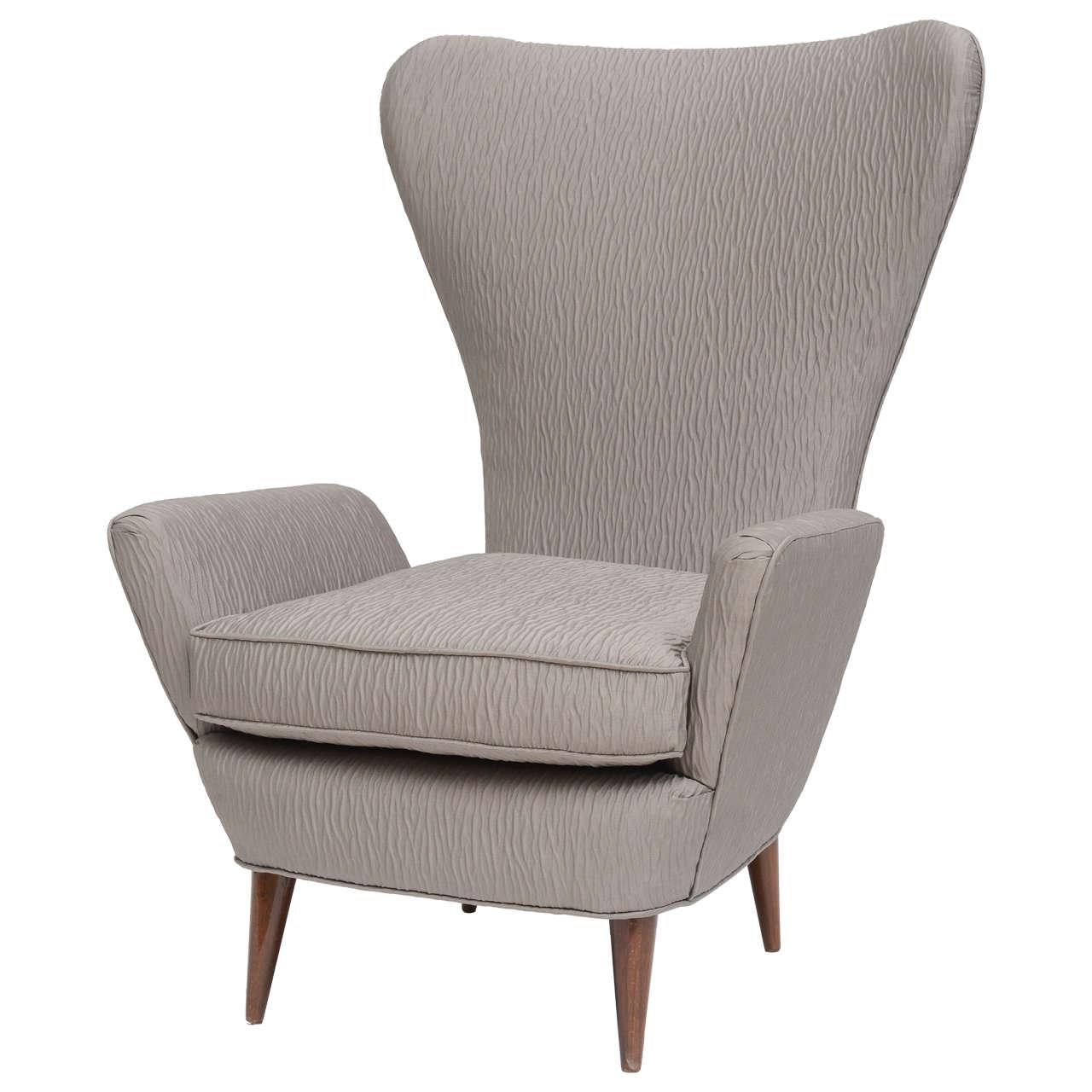 Lovely Italian Modern High Back Armchair, Italy For Sale