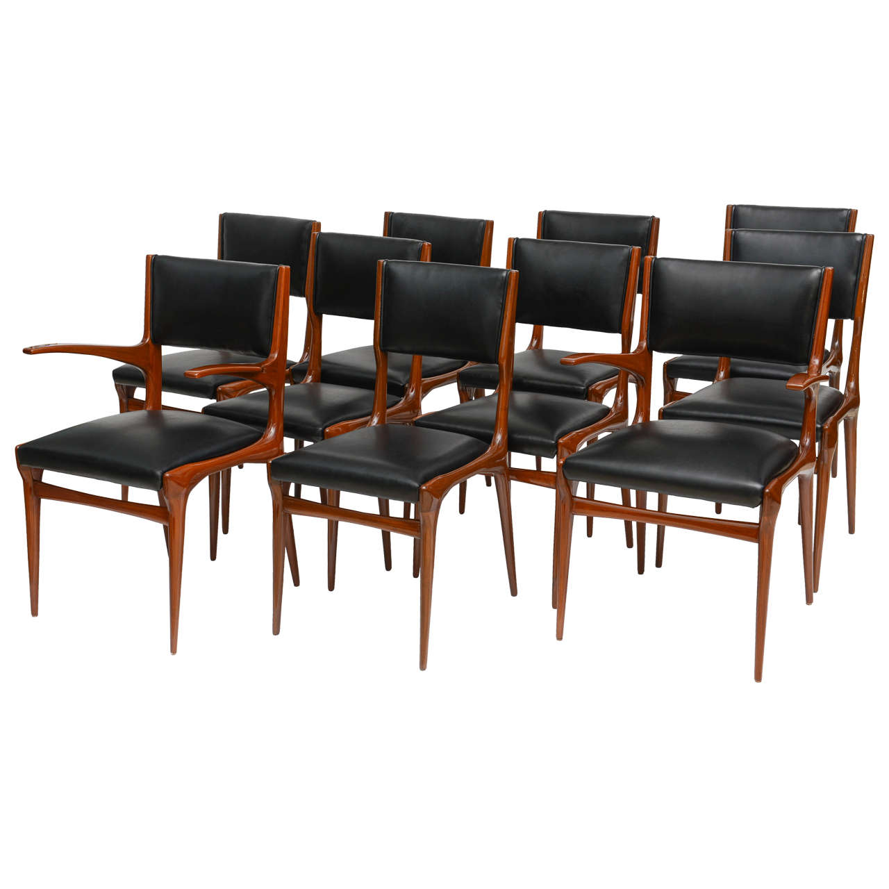 Set Of 12 Carlo Di Carli Walnut Dining Chairs Italy For Sale