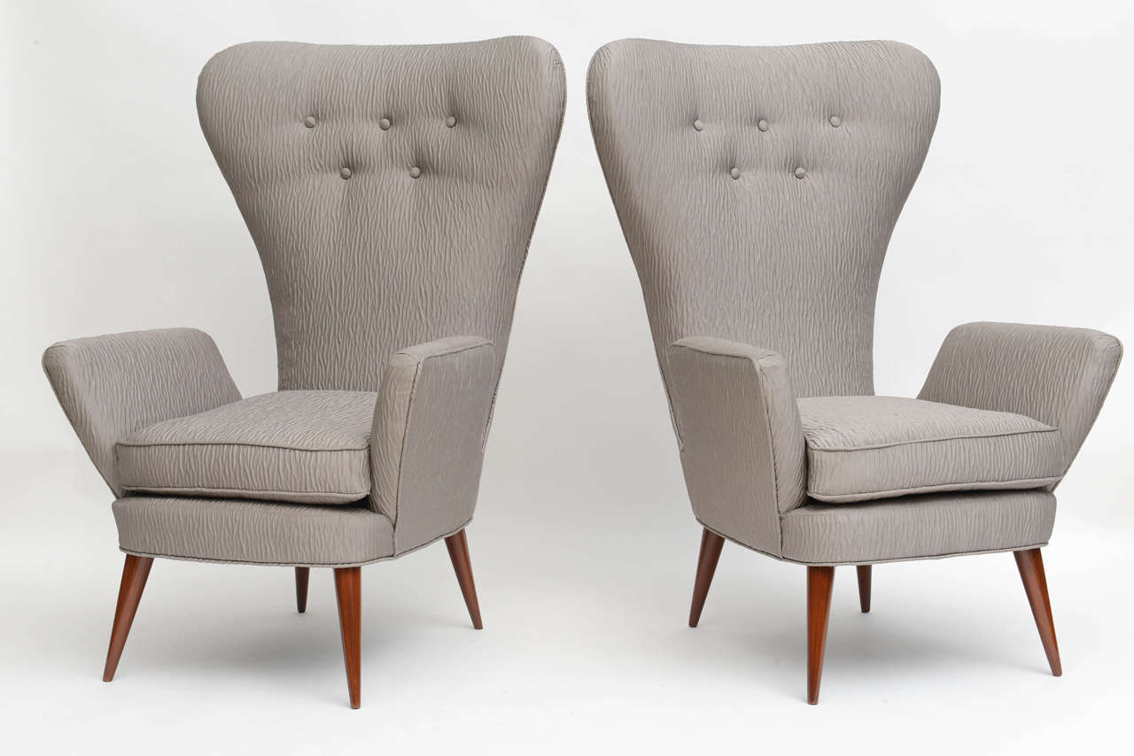 Mid-Century Modern Pair of Italian Modern High Back Chairs, Italy For Sale