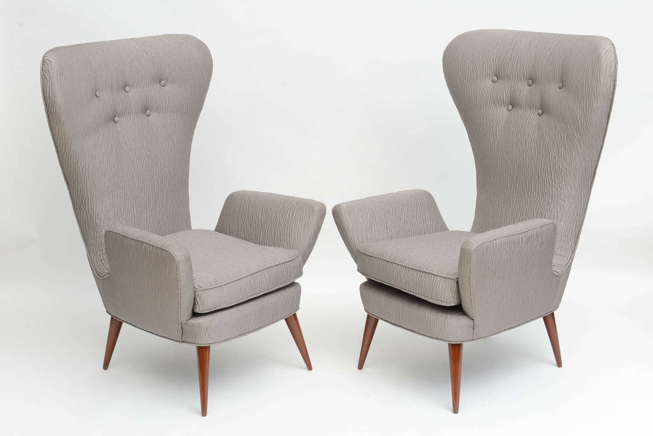 Mid-20th Century Pair of Italian Modern High Back Chairs, Italy For Sale