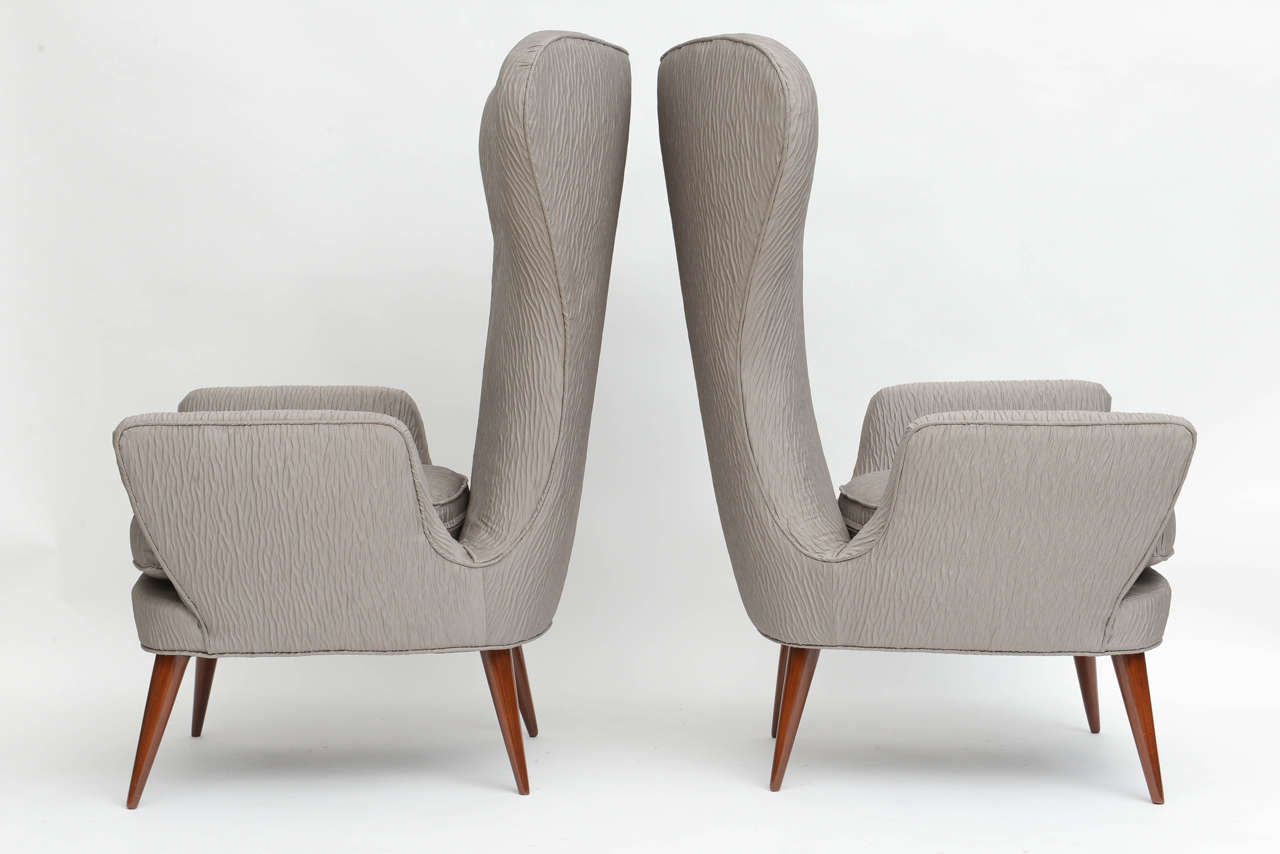Upholstery Pair of Italian Modern High Back Chairs, Italy For Sale