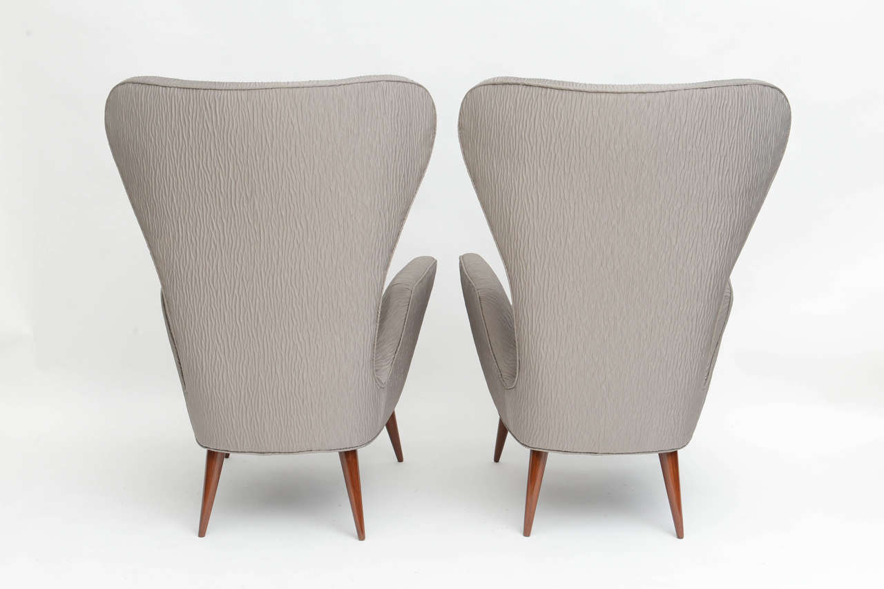 Pair of Italian Modern High Back Chairs, Italy For Sale 2