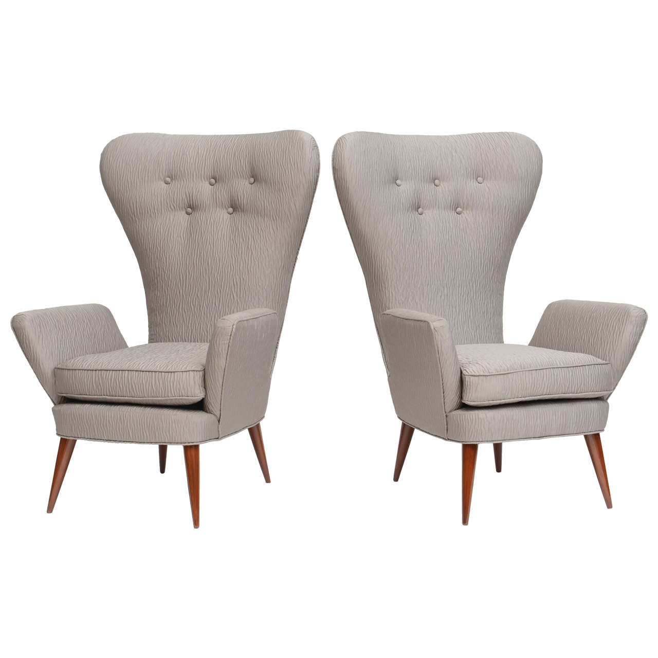 Marvelous Pair Of Italian Modern High Back Chairs, Italy 1