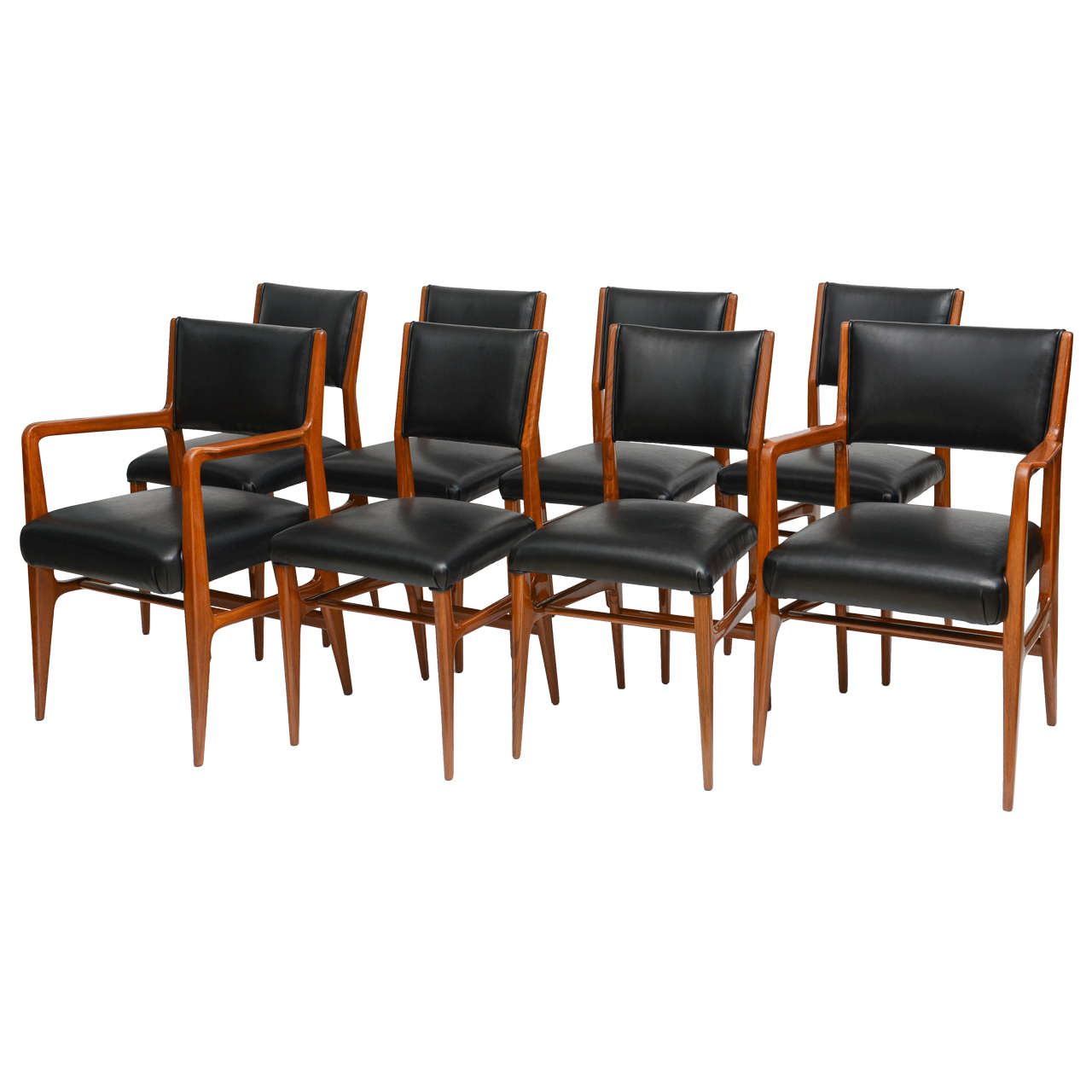 Fine set of 12 italian modern dining chairs gio ponti for for Singer dining room set