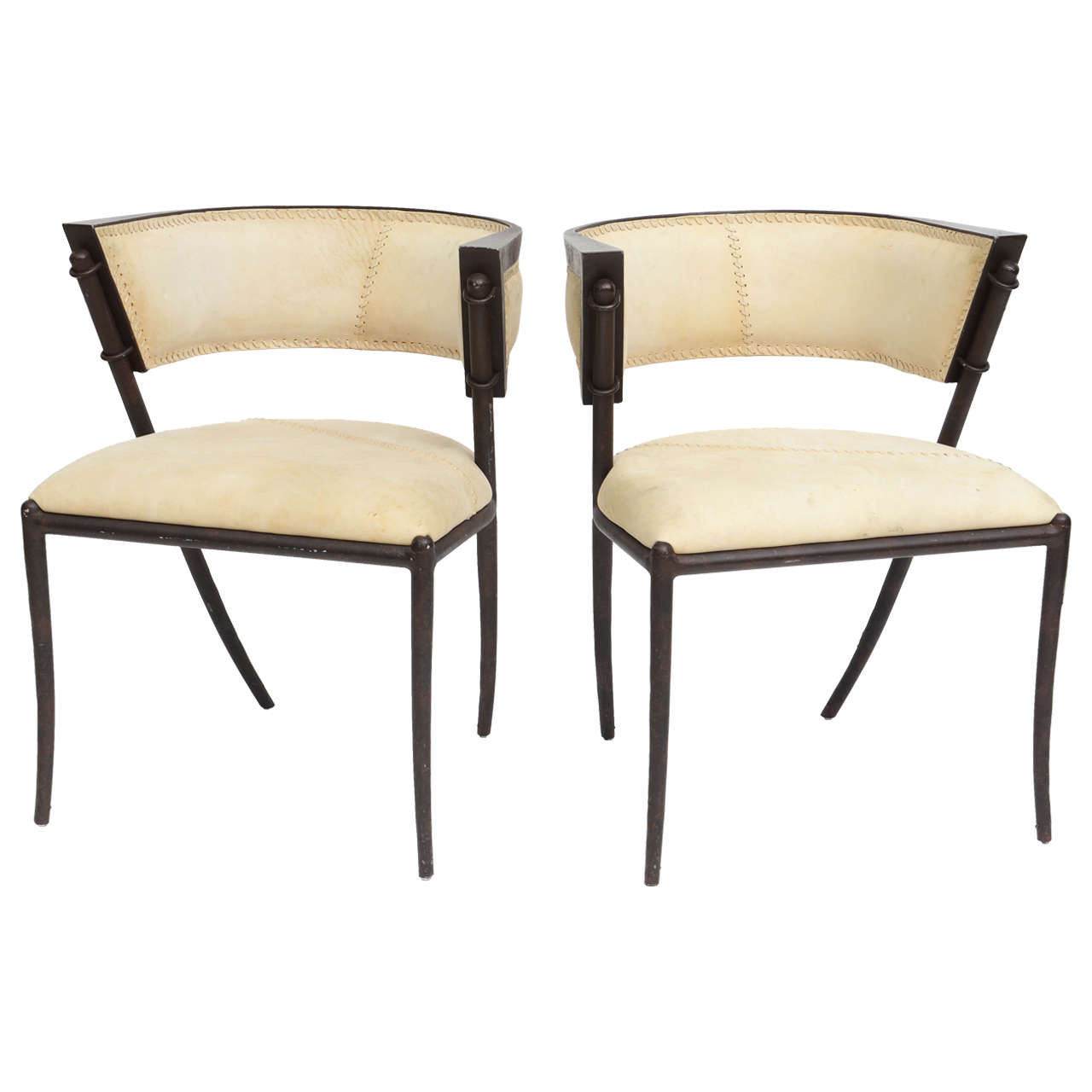 Modern Klismos Chair: Pair Of Italian Modern Klismos Form Bronze And Leather