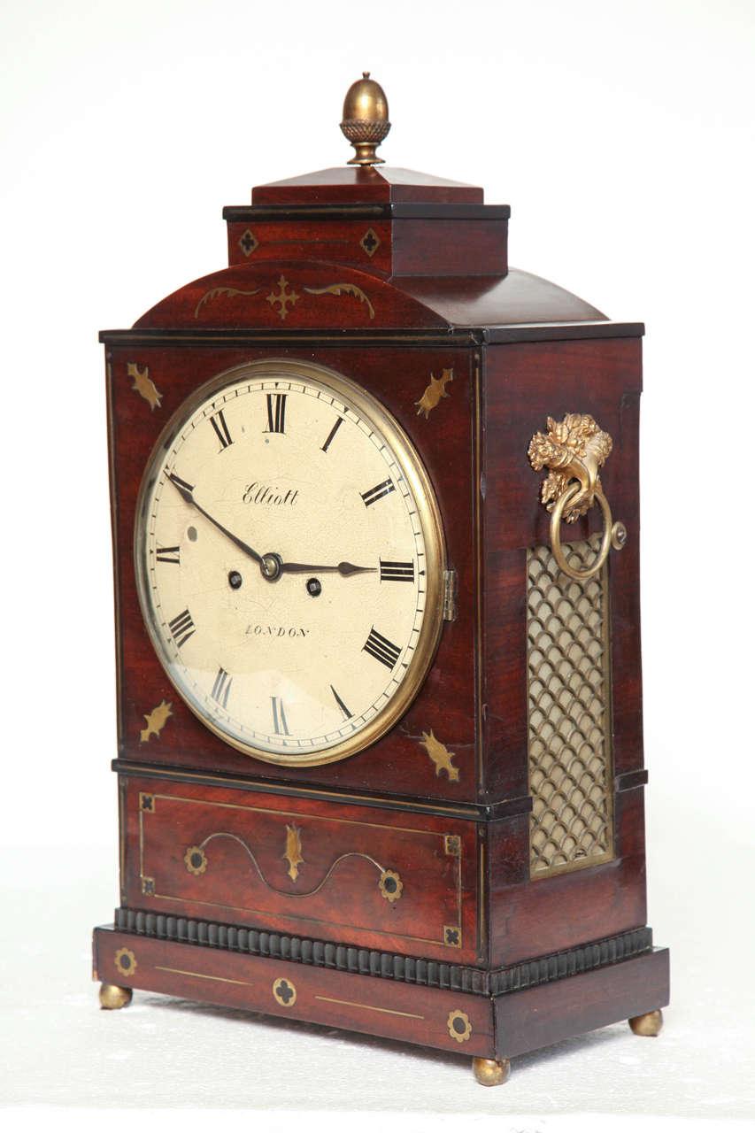 19th Century English Regency Bracket Clock by Elliott of London With Twin Fusee Movement