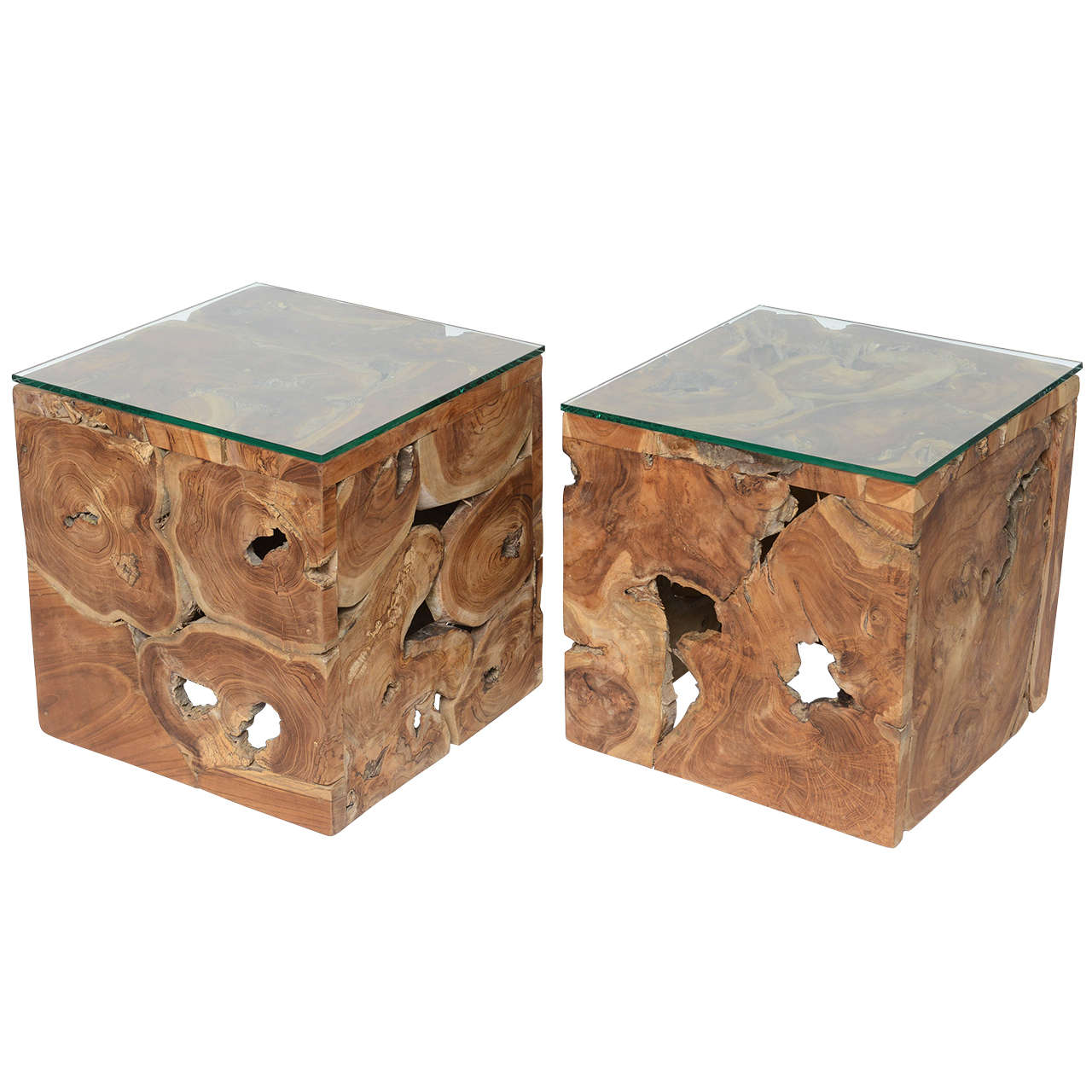 Repurposed Wood Organic Cube Side Tables At 1stdibs