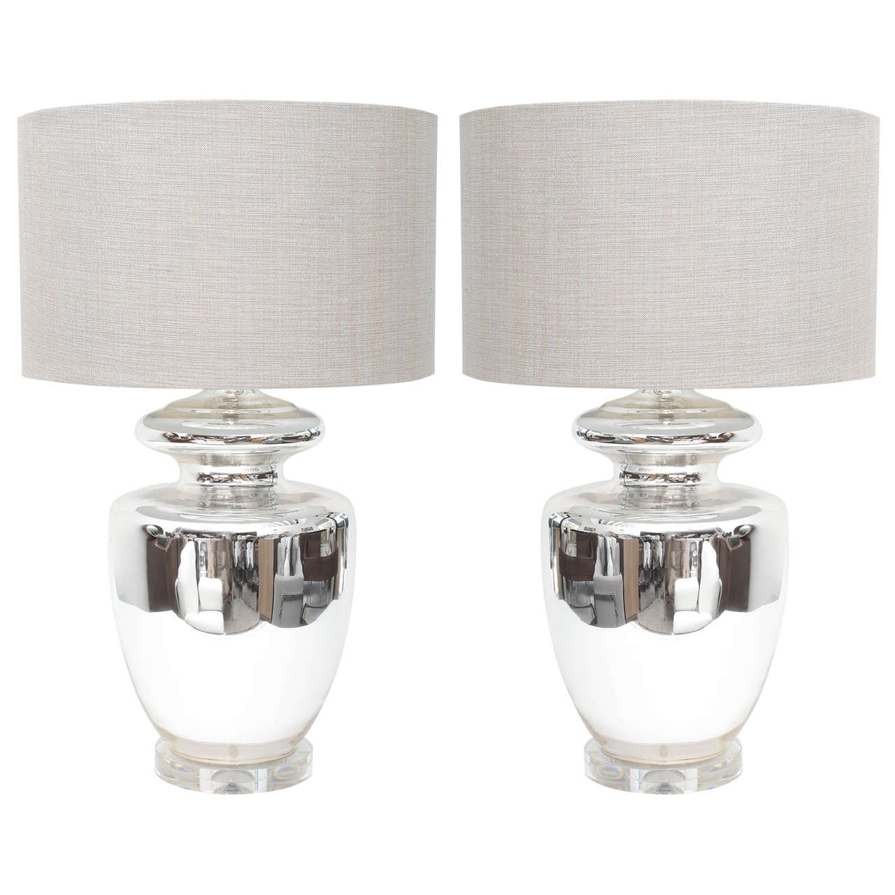 Pair Mid Century Modern Monumental Classic Elegant Mercury Glass Lamps At 1stdibs