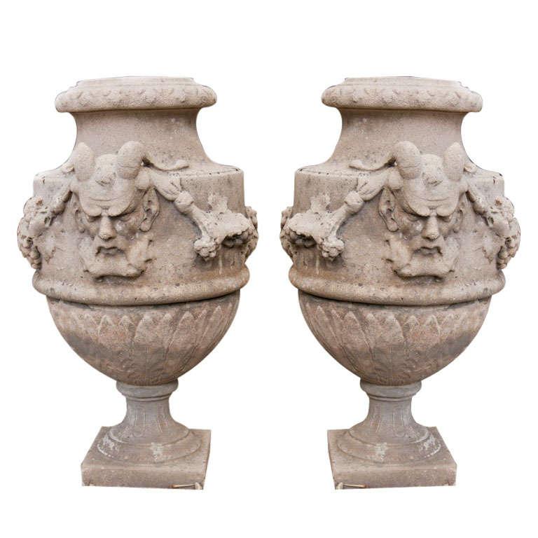 Pair of Cement Urns