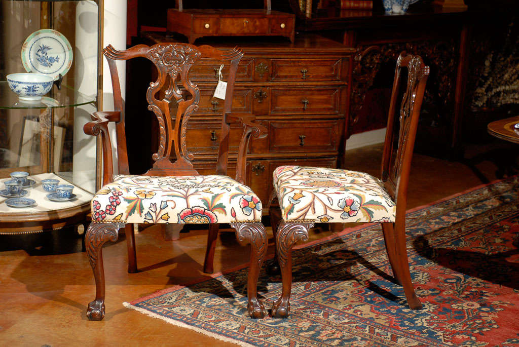 Very Fine Set of Ten English Chippendale Mahogany Dining Chairs 6