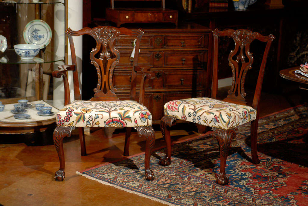 Very Fine Set of Ten English Chippendale Mahogany Dining Chairs 10