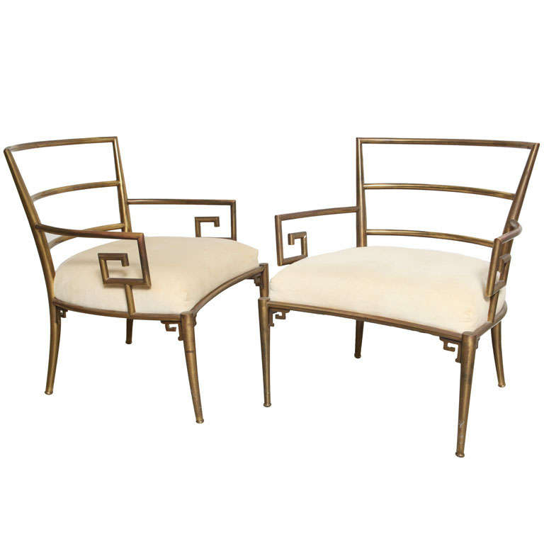 Weiman Warren Lloyd Brass Lounge Chairs 1