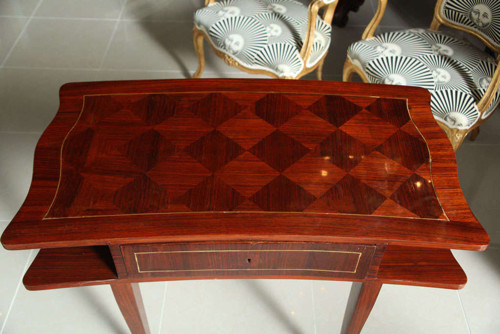 Brass French Art Deco Mahogany Writing Table For Sale
