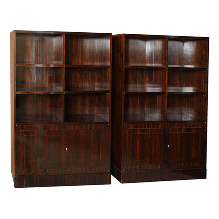 Pair of French Late Art Deco Ebony de Macassar Bookcase Cabinets, by Dominique