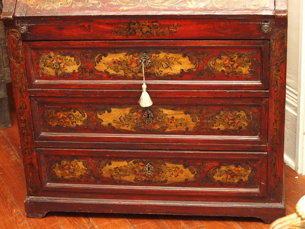 Italian painted fall front secretary at 1stdibs for Italian painted furniture