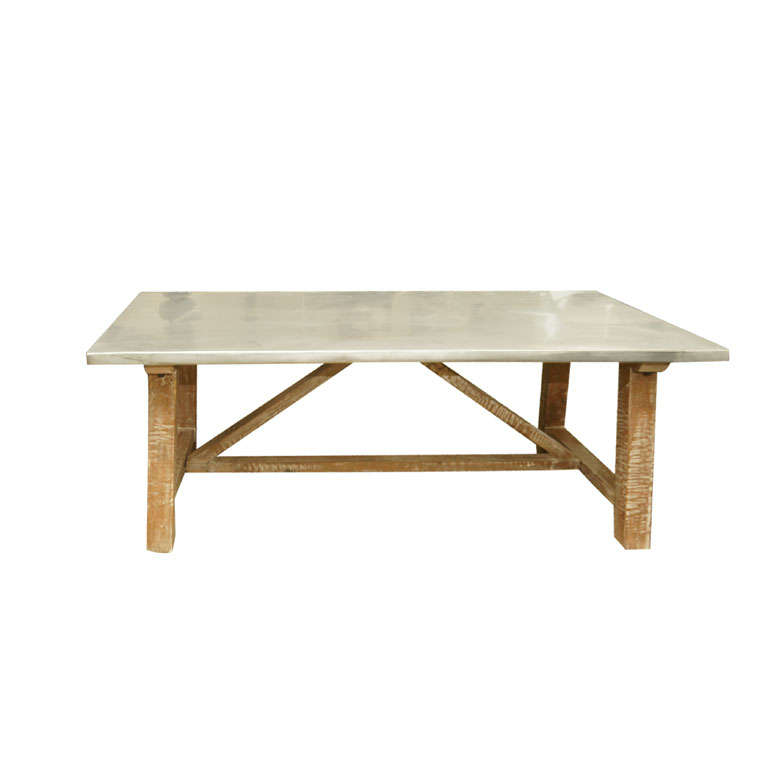 Zinc top distressed wood coffee table at 1stdibs for Distressed wood coffee table set